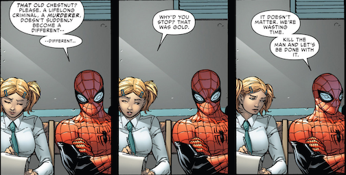 When Smythe claims to have found God in prison, Octo-Spidey gives this reaction. This is some of the issue's more memorable writing.
