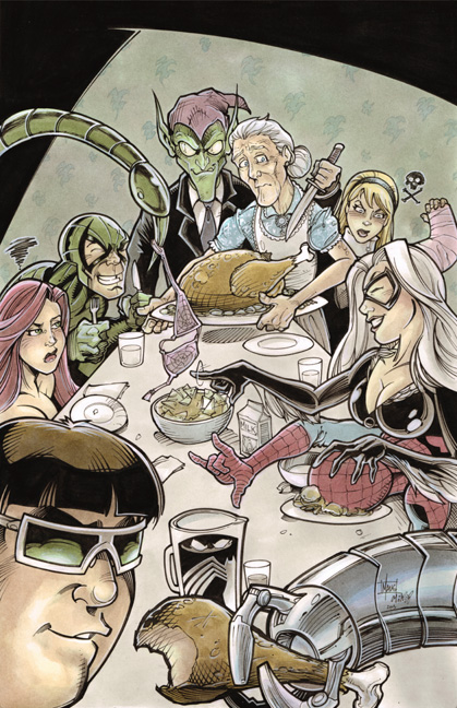 rockwell_inspired_spider_man_thanksgiving_by_frisbeegod-d6t13zt