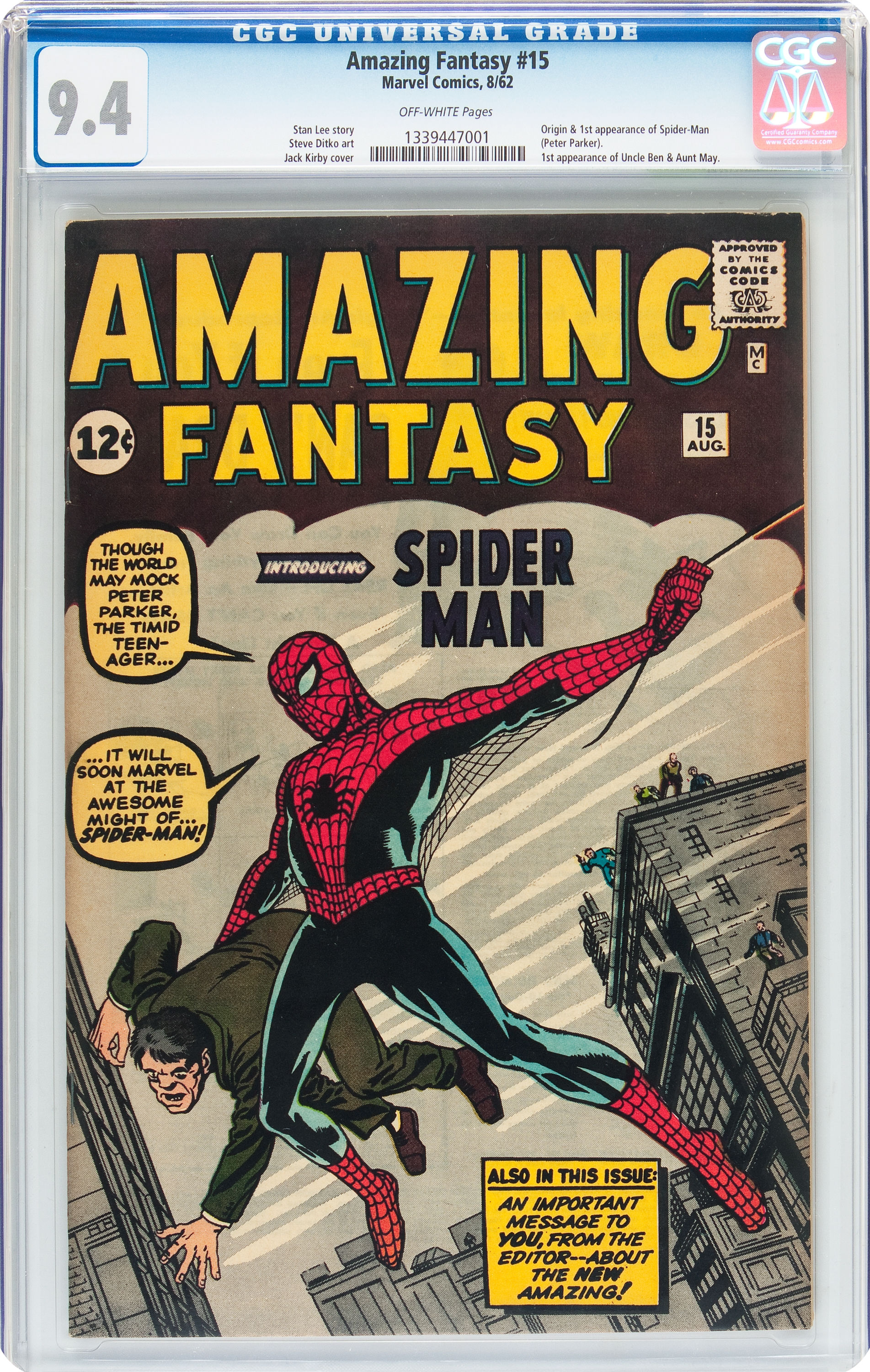 Near-Mint Amazing Fantasy #15 Auctioned Off For.....