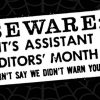 Cobwebs #24: Beware! It's Assistant Editor's Month!