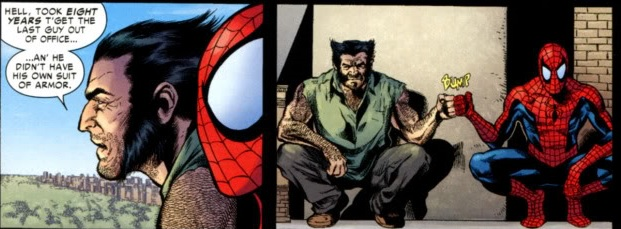 Spider-Man Wolverine fist bump